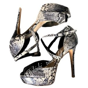 Gianni Bini Snake Print Strap Peep Toe Heels